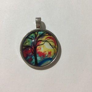 Psychedelic Tree Trippy Multicolor Silver Necklace